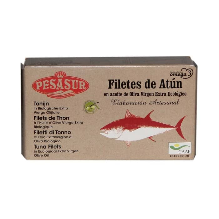 buy spanish Tuna fillets in organic olive oil Pesasur 120g